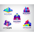 set abstract colorful city building vector image