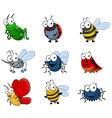 set cartoon insects vector image vector image