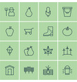 set of 16 planting icons includes maize radish vector image vector image