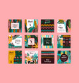 set of abstract creative templates with tropical vector image vector image
