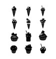 set of black cupcakes and ice cream icons vector image vector image