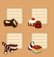 set stickers with cartoon chocolate vector image