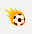 soccer ball in fire flame football fireball vector image vector image