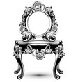 stylish console table and mirror frame with rose vector image vector image