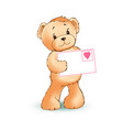 teddy bear and love letter vector image vector image