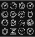 time and clocks icons set on black background vector image vector image