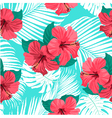 Tropical flowers and palm leaves vector image vector image