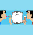 two young women with ice cream cone vector image vector image