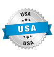 usa round silver badge with blue ribbon vector image