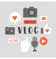 Vlog objects Text and icons vector image