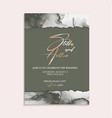 wedding green invitation cards with luxury gold vector image