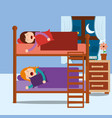 young girls asleep in bunk bed in night bedroom vector image