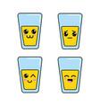 kawaii glass juice faces icon vector image