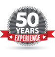 50 years experience retro label with red ribbon vector image