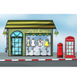 A fashion store and a callbox vector image vector image
