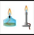 alcohol spirit burner and bunsen burner vector image
