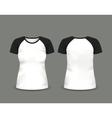 Black raglan t-shirt template vector image vector image