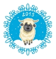 Card with snowflake and little cute sheep symbol vector image