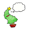cartoon dancing christmas tree with thought bubble vector image vector image