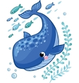 Cartoon young whale surrounded by small sea fish vector image