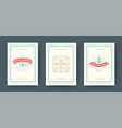 christmas greeting cards set vintage typographic vector image