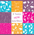 collection of music seamless patterns vector image