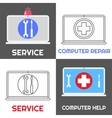 Computer repair service Laptop help icon set vector image vector image