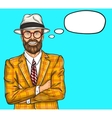 Confident pop art hipster man vector image vector image