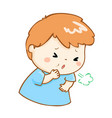 coughing boy cartoon vector image vector image