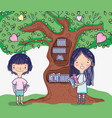 cute girls with tree library vector image