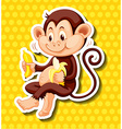 Cute monkey eating banana vector image