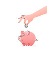 cute piggy bank with hand putting coin linear icon vector image
