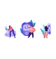 diabetes sickness set tiny characters vector image