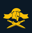 emblem logo template with spartan helmet swords vector image