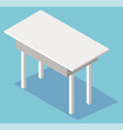 empty white plastic table isolated on blue vector image vector image