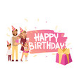 family going to birthday party together vector image vector image