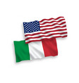 flags italy and america on a white background vector image vector image