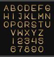 futuristic golden alphabet font thin abc letters vector image