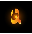 Golden arabic style letter q Shiny latin alphabet vector image vector image