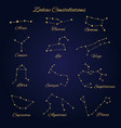 hand drawn gold zodiac constellations set of 12 vector image