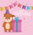 happy birthday card with chipmunk vector image vector image
