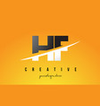 hf h f letter modern logo design with yellow vector image vector image