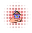 House in hand icon comics style