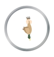 Hunted duck icon in cartoon style isolated on