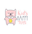 kids happy toys logo colorful hand drawn vector image vector image