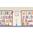 Library with bookshelves vector image