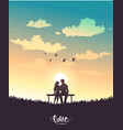 lovers sunset vector image vector image