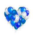 luxury balloons in blue and white colours in heart vector image