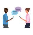 millennial smartphone chat conversation vector image vector image
