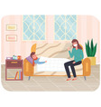 mom treats her child woman in protective face vector image vector image